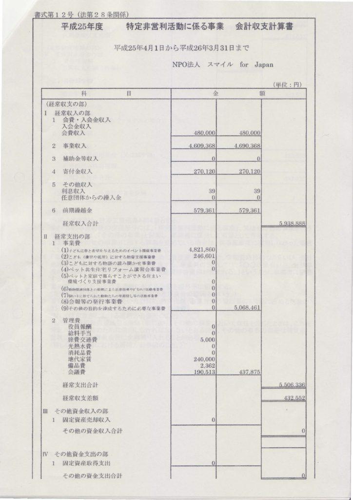 平成25年度収支報告-1